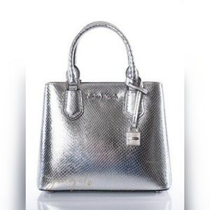 Michael Kors silver snake skin satchel handbag